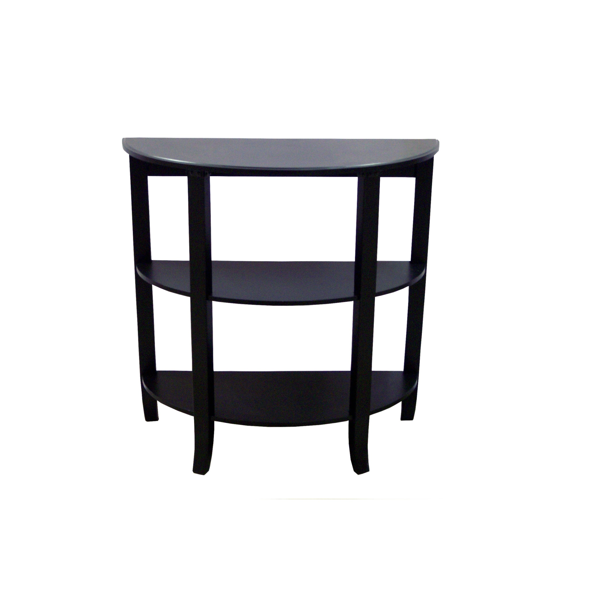 Target Marketing Systems London Collection 3 Tier Oval Hall Table with Flat Back, Black