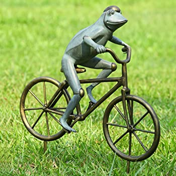 metal frog on bike