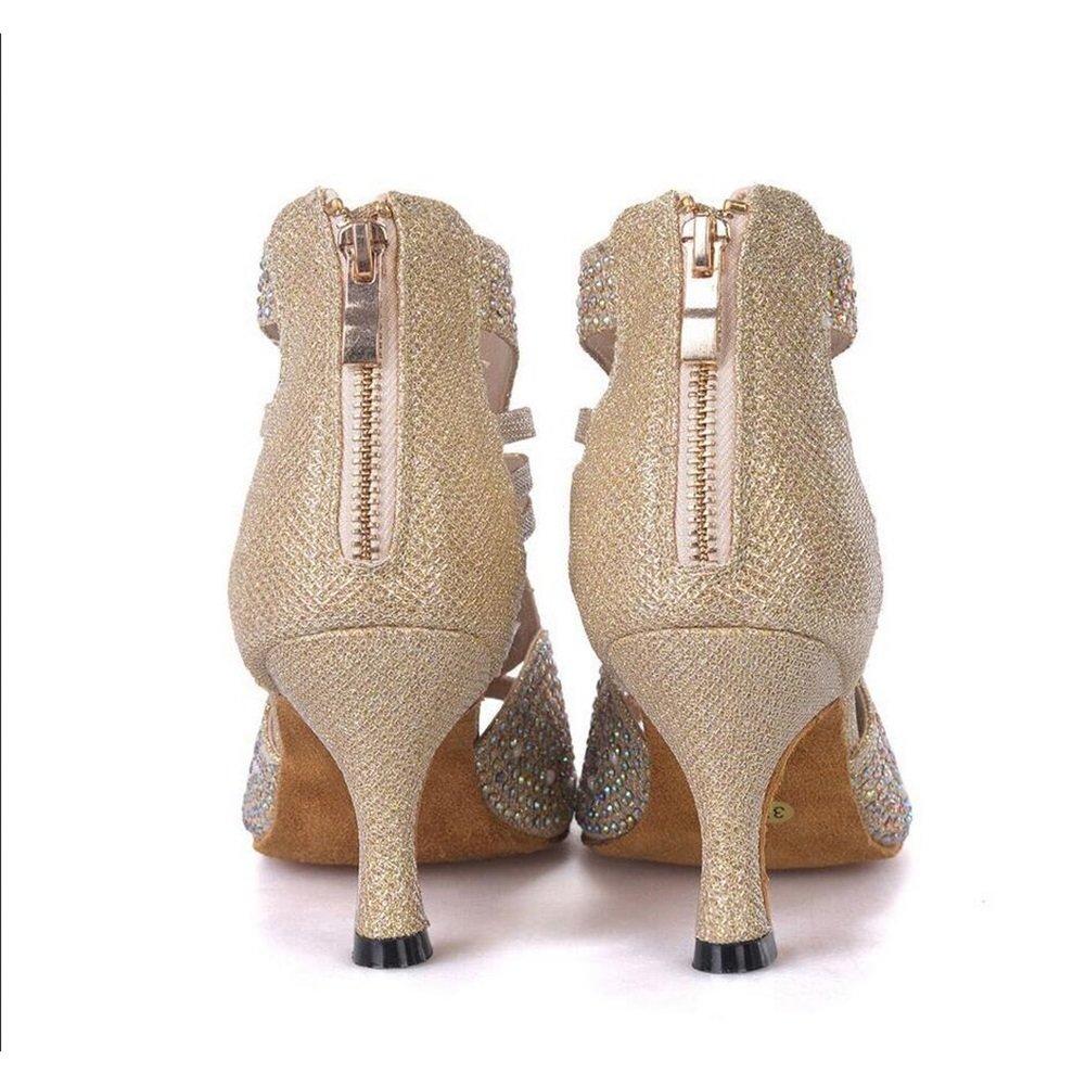 Color : A, Size : 37 XUEXUE Womens Latin Shoes Sparkling Glitter Sandal Ballroom Shoes//Heel Performance//Professional Rhinestone//Sparkling Glitter Flared Heel