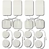 TENS Replacement Electrode Pads- Small & Large Size 16-Pack, Self Adhesive Reusable Electrodes for TENS Digital Therapy Machi
