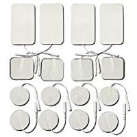 TENS Replacement Electrode Pads- Small & Large Size 16-Pack, Self Adhesive Reusable Electrodes for TENS Digital Therapy Machine Massager, Muscle Stimulator