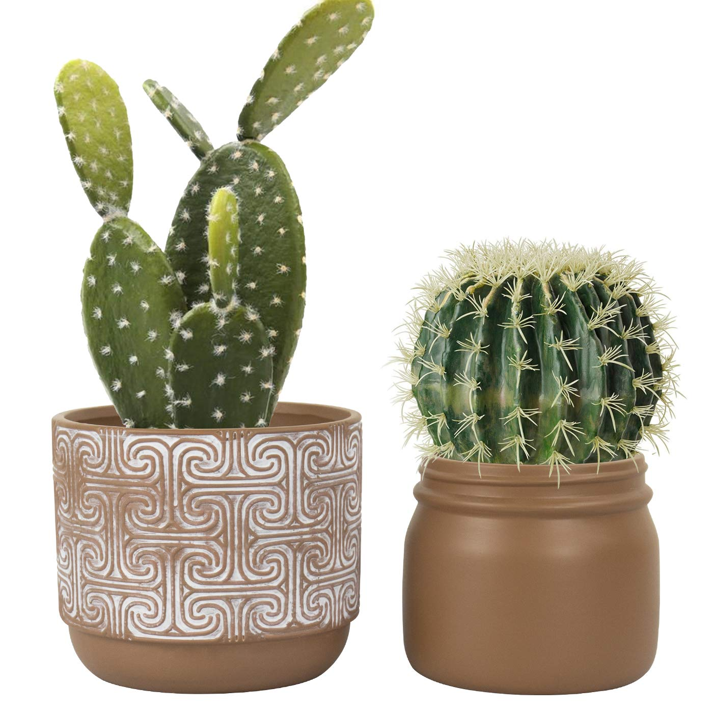 Terracotta Pots Clay Planters - 6.3 Inch Pack 2 Modern Round Ceramic Pottery Succulent Cactus Flower Pots with Drainage Hole for Garden Indoor Outdoor, Rustic Home Decor