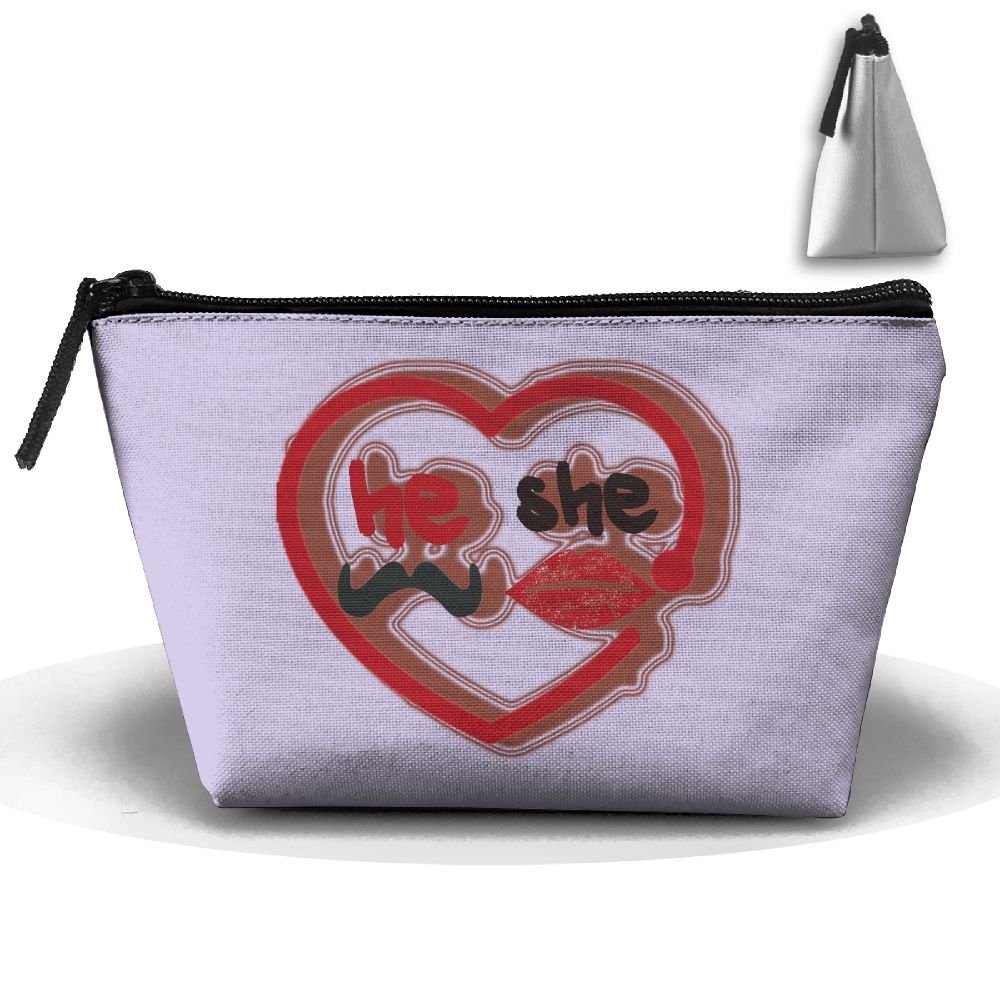 JF-X He She Lips Valentine s Day Trapezoid Receive Bag Makeup Bag Home  Office Travel 63d95c1a25