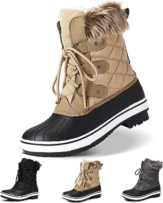 Camfosy Kvinnors snöstövlar, vattentäta vinterskor för damer, termisk päls fodrade varma mitten av vaden stövlar, halkskydd komfort skidåkning promenader snörning ankelstövlar, utomhus hållbara regnanka stövlar