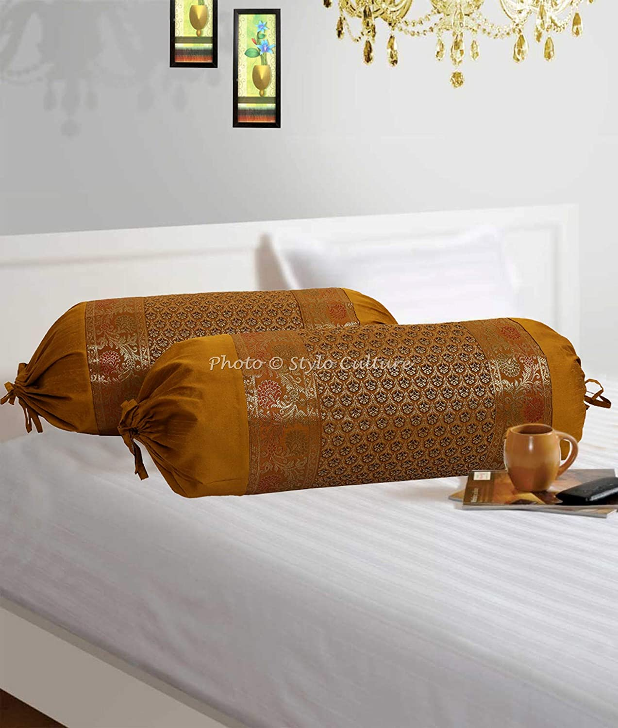 76x38 cm Set of 2 | 30x15 Inches Stylo Culture Indian Polydupion Cylindrical Hotdog Pillow Bolster Pillow Covers Gold Jacquard Brocade Border Floral Large Settee Cylinder Cushion Covers