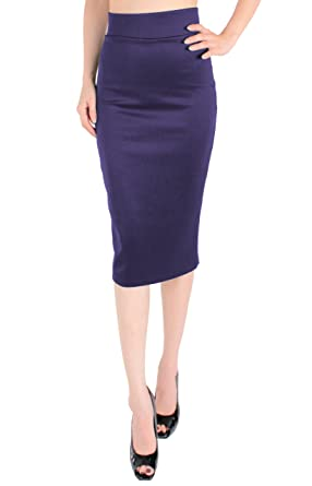 LeggingsQueen High Waist Stretch Basic Pencil Skirt at Amazon ...