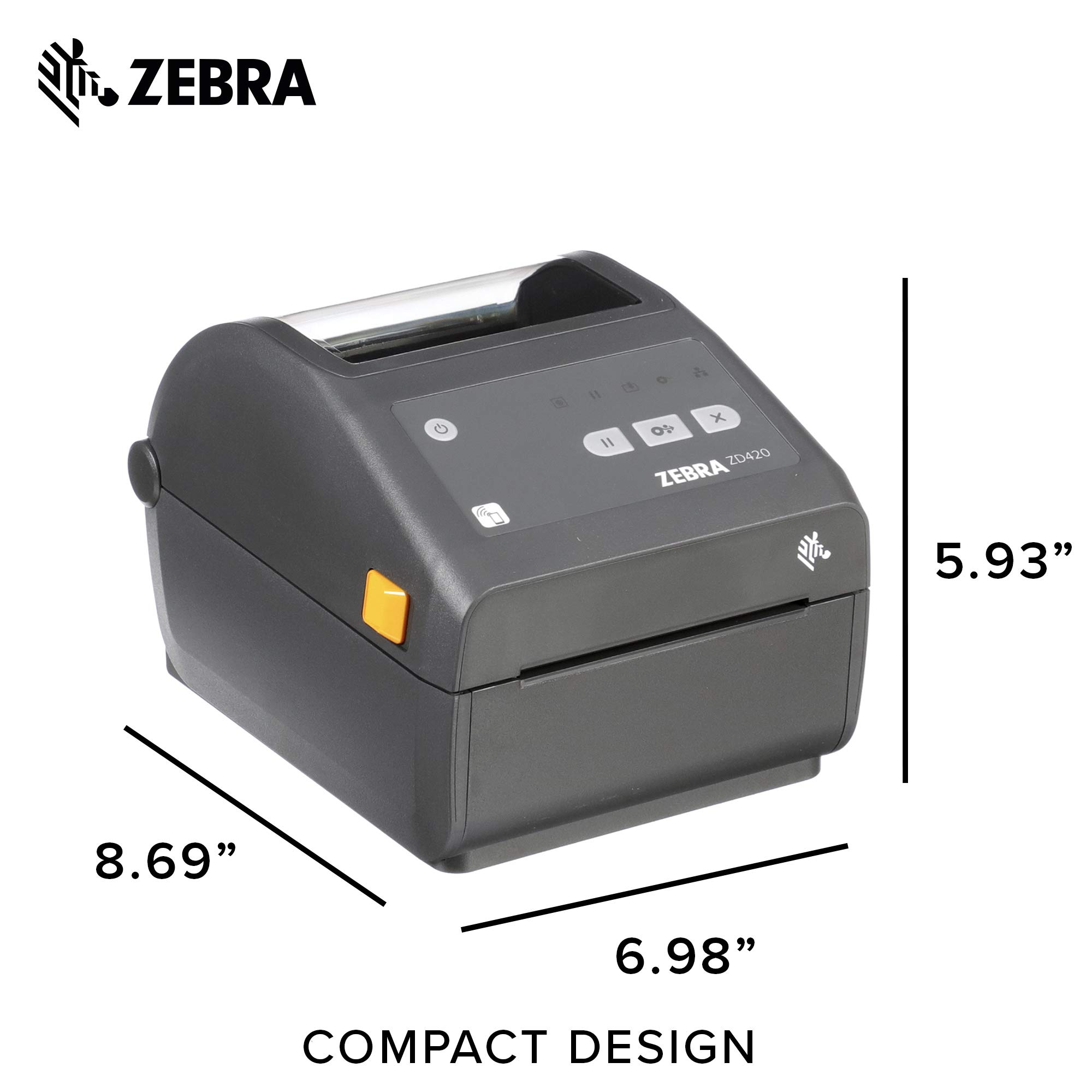 Zebra - ZD420d Direct Thermal Desktop Printer for Labels and Barcodes - Print Width 4 in - 300 dpi - Interface: WiFi, Bluetooth, USB - ZD42043-D01W01EZ by Zebra Technologies (Image #6)