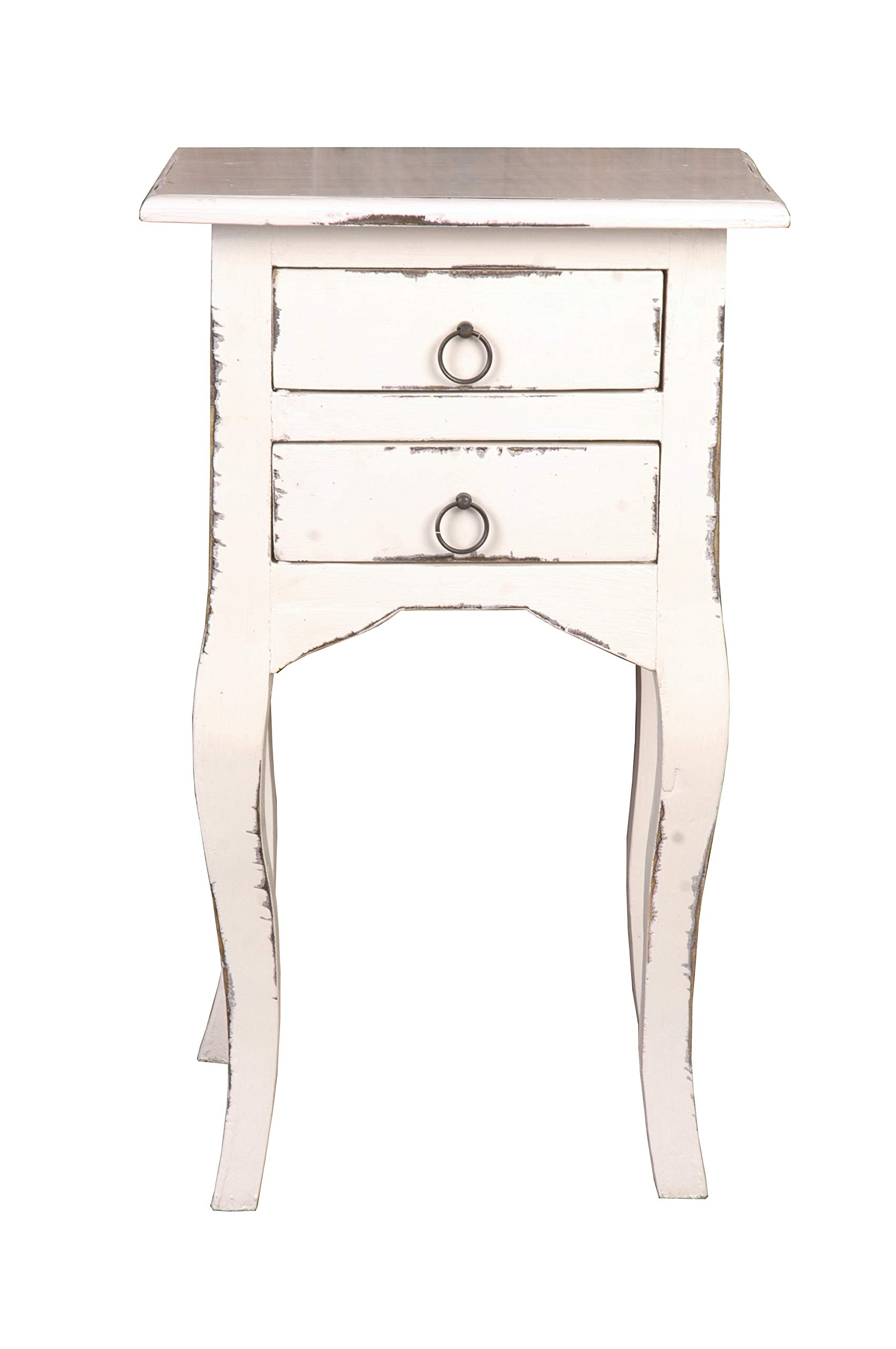Sunset Trading CC-TAB1793LD-AW Shabby Chic Cottage Table, One Drawer, Antique White by Sunset Trading