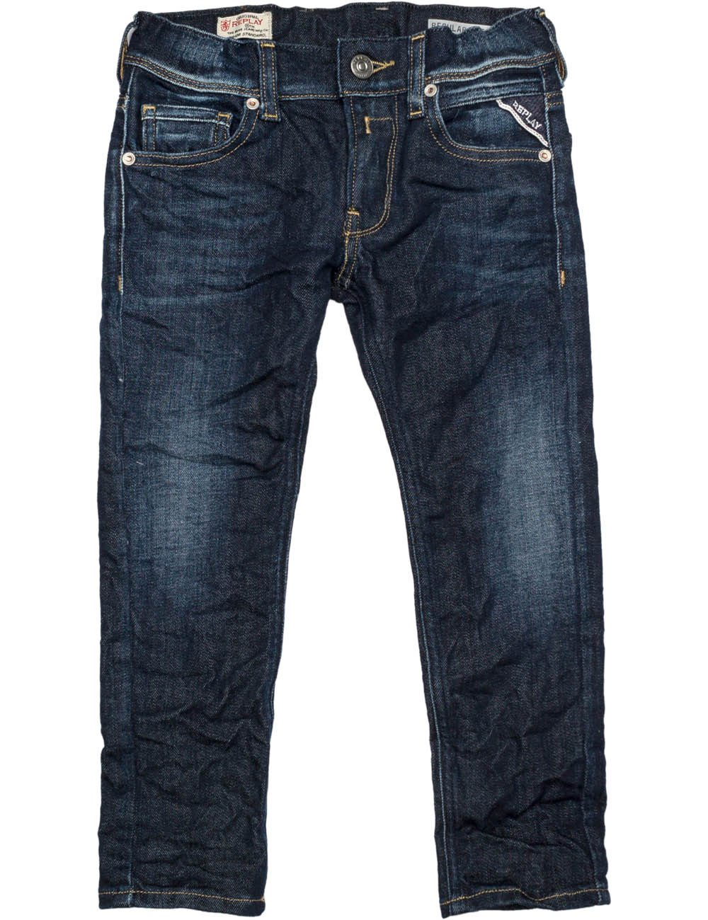 Replay Boys Dark Blue Denim Trousers in Size 14 Years Blue by Replay