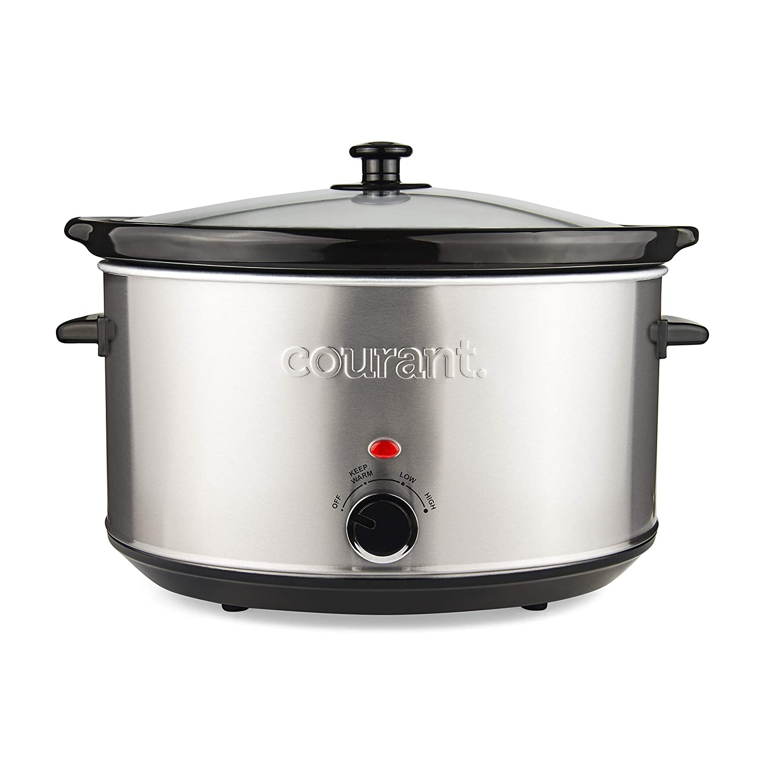 Courant Oval Slow Cooker Crock, with Easy Options 8.5 Quart Dishwasher Safe Pot, Stainless Steel