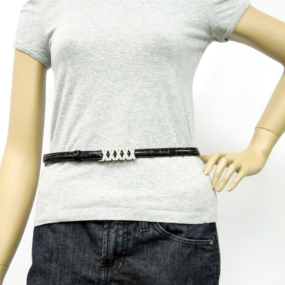 Womens Fashion Rhinestone Embellished Silver Toned Buckle on Quality Croc Be...