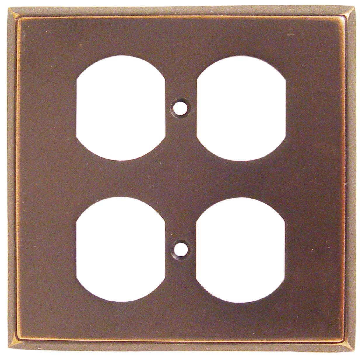 Emtek 29132US10B Oil Rubbed Bronze Colonial Forged Brass Double Outlet Switch Plate with Colonial De