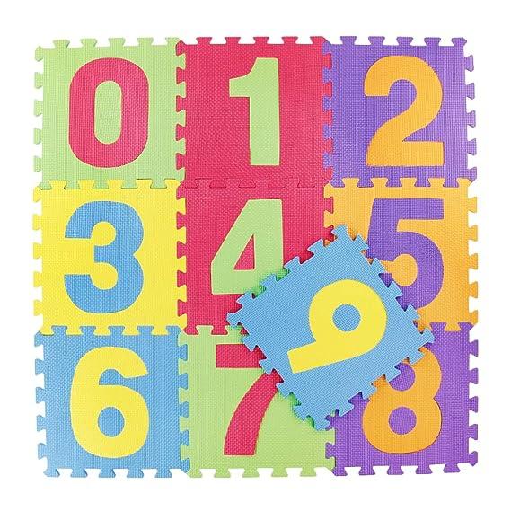 Alfombra Puzzle Infantil Goma Eva de Numeros 0 al 9 Tatami para Niños 29,5*29,5*0,85cm(10 Piezas)