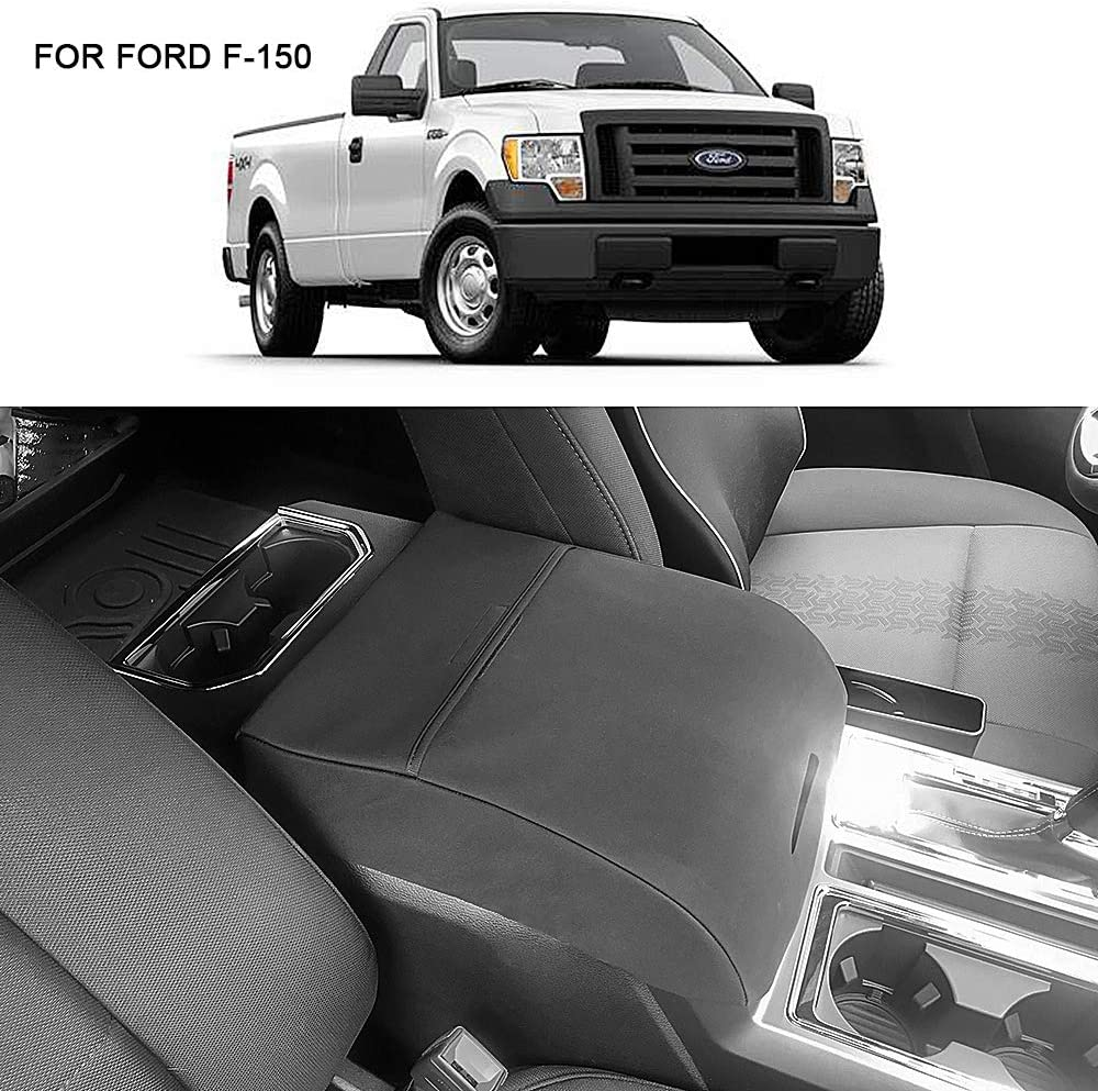 BASIKER Auto Console Lid Covers for Ford F-150 Raptor Truck 2002-2019 Center Console Armrest Cover Black Waterproof Cloth