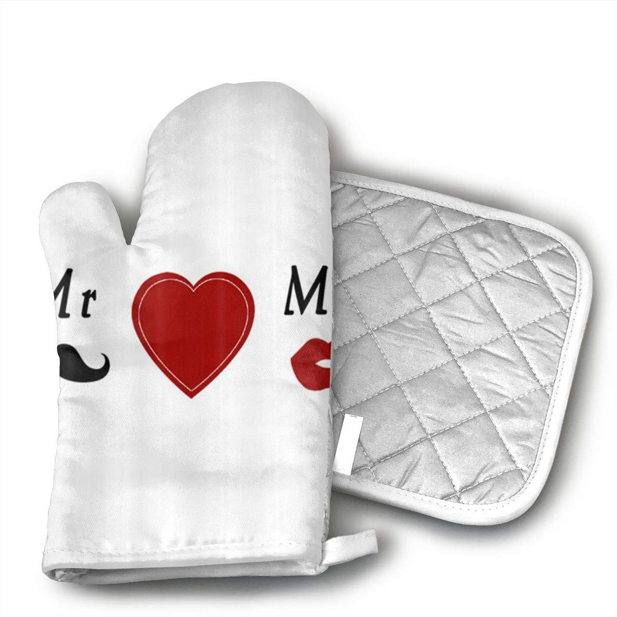 My Love Bride Groom Mr & Mrs Oven Mitts with Quilted Cotton Lining - Professional Heat Resistant Pot Holders