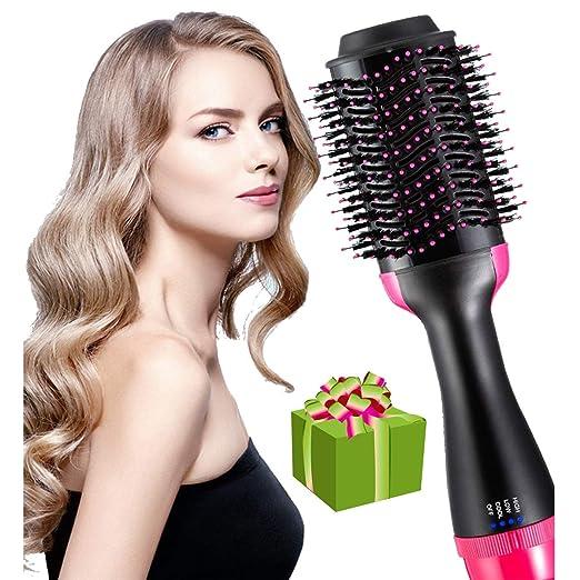 Amazon.com: Un secador de pelo y estilizador 4 en 1 multifuncional cepillo de aire caliente puede reemplazar alisador-rizador-peine-secador, también se utiliza como un peine de masaje, característica anti-quemaduras reducir el encrespamiento y estilo estático: Beauty