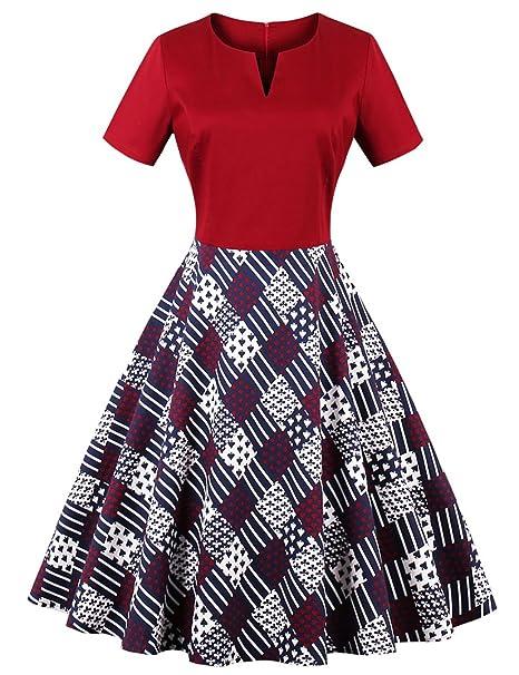 GEMVIE Vestido Corto Vintage para Mujer Cóctel con Manga Corta Rojo M
