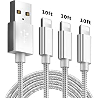 iPhone Charger Cable 3Pack(10FT) Lightning Cable Nylon Braided High Speed USB Charging Cord Compatible with iPhone 11 XS XR X 8 7 6 5 iPad -SilverGray
