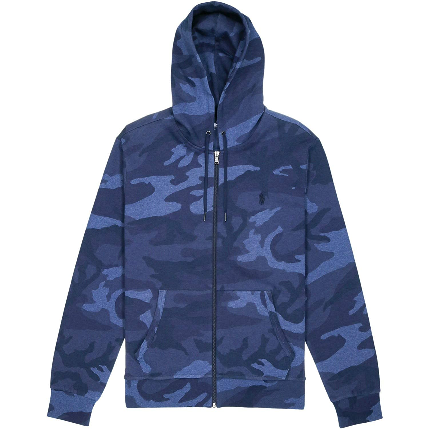 RALPH LAUREN Polo Mens Performance Double-Knit Full Zip Hoodie Blue Camo
