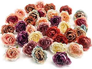 Flower heads in bulk wholesale for Crafts Carnation Silk Peony Artificial Rose Flower Heads European Wedding Decoration DIY Accessories Fake Flowers Party Birthday Home Decor 30pcs 4CM (Colorful)