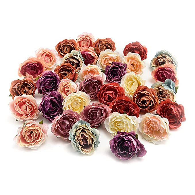 Edwardian Hats, Titanic Hats, Tea Party Hats Flower heads in bulk wholesale for Crafts Carnation Silk Peony Artificial Rose Flower Heads European Wedding Decoration DIY Accessories Fake Flowers Party Birthday Home Decor 30pcs 4CM (Colorful) $9.99 AT vintagedancer.com