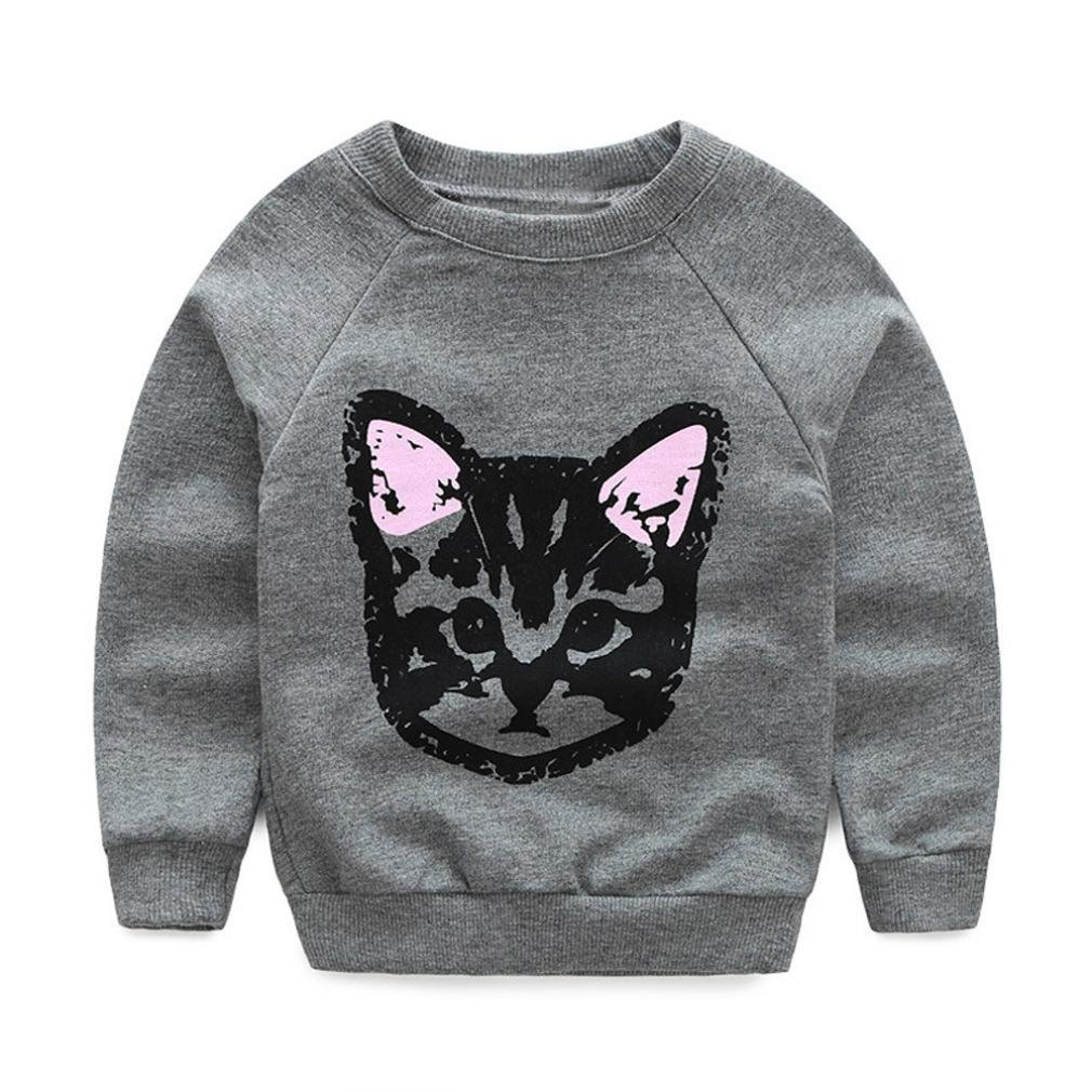 Infant Kids Cat Print Tshirts Long Pants Clothes Newborn Cotton Blended Long Sleeve Shirts Girls Trousers 1-6 Years Toddlers Outfits Set Transer Baby T-Shirts+Trousers