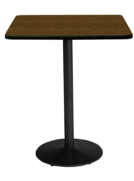 42u0026quot; Square Pedestal Table With Walnut Top, Round Black Base, Bistro  Height