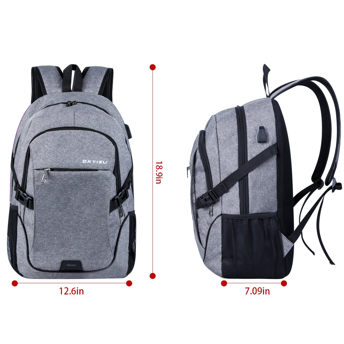 Laptop Backpack Waterproof Computer Travel Backpack with USB Charging Port Fits