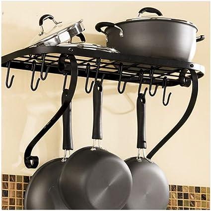 Amazon.com: ATK Metal Kitchen Wall Pot Pan Rack, Shelf Pot ...
