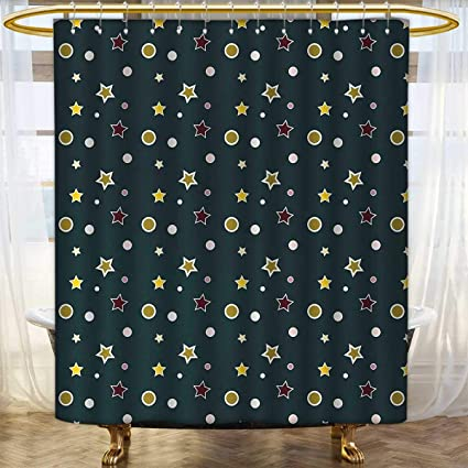 Anhounine Forest Green Shower Curtains Waterproof Long Stars And Snowflakes Merry Christmas Pattern With Traditional Festive