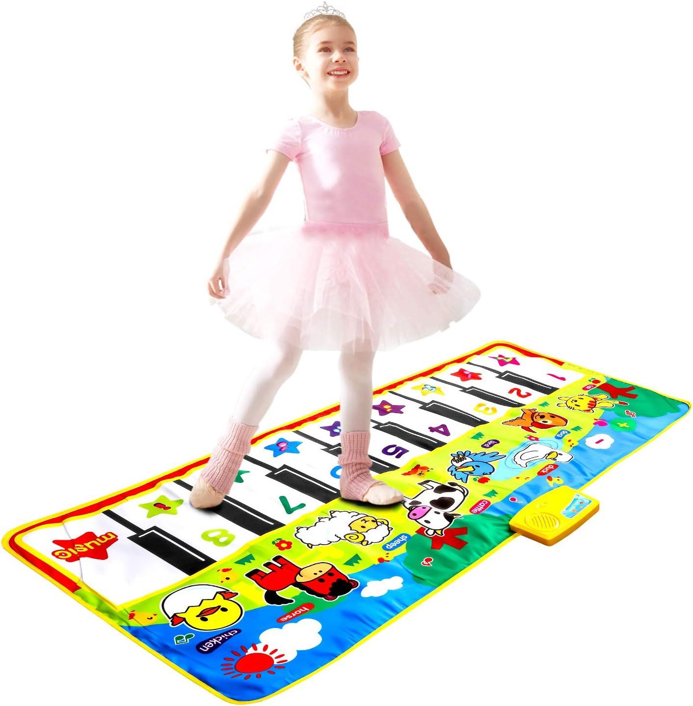 m zimoon Alfombrilla para Piano, Alfombrillas de Música para Niños Alfombrilla de Baile Teclado Estera de Alfombra para Niñas Niños Pequeños