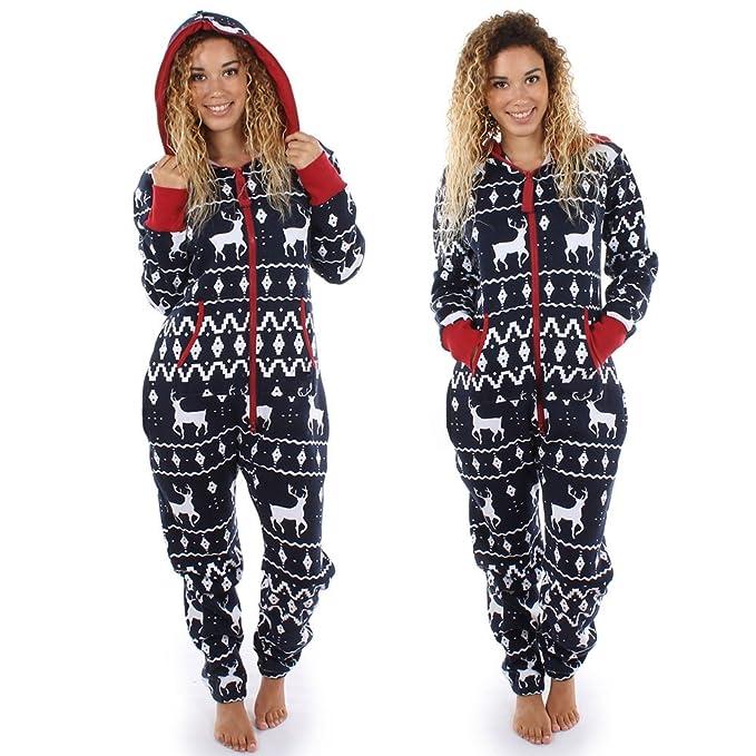 MYQyiyi Invierno Pijamas de Mujer Mono Impresa Alces para Navidad