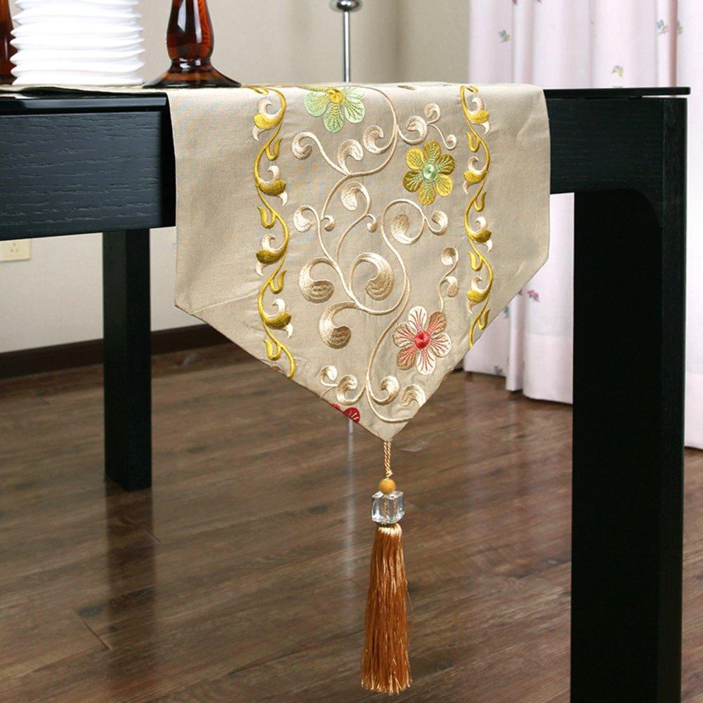 Borla de seda bordado camino de mesa decoración de mesa paño amarillo rojo
