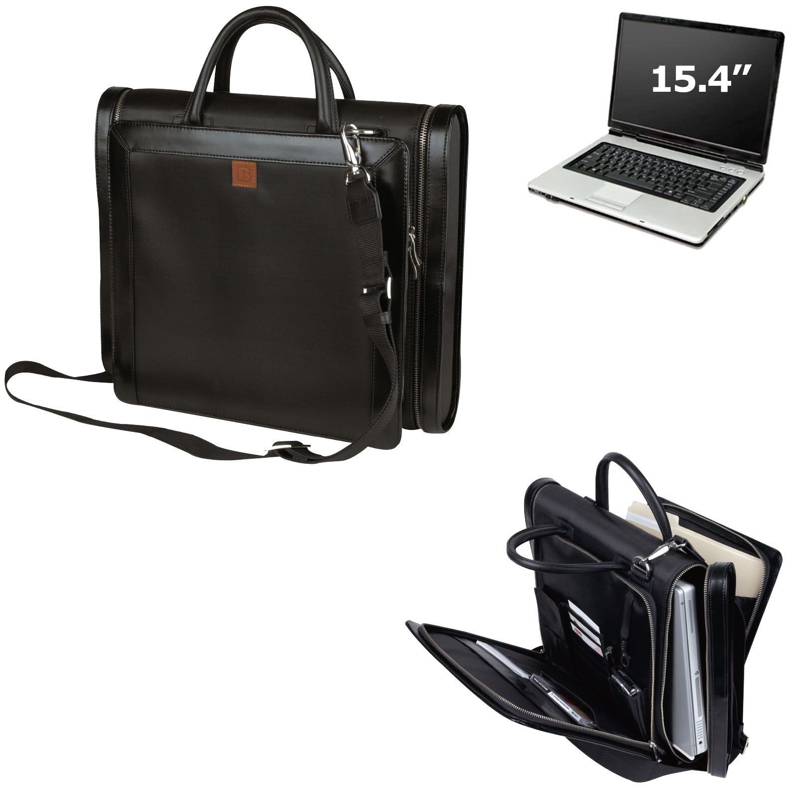 IMPECGEAR Manthattan Leather Trims Messenger Bag and handle Computer Shoulder Bag 15.4 Laptop by ImpecGear (Image #1)