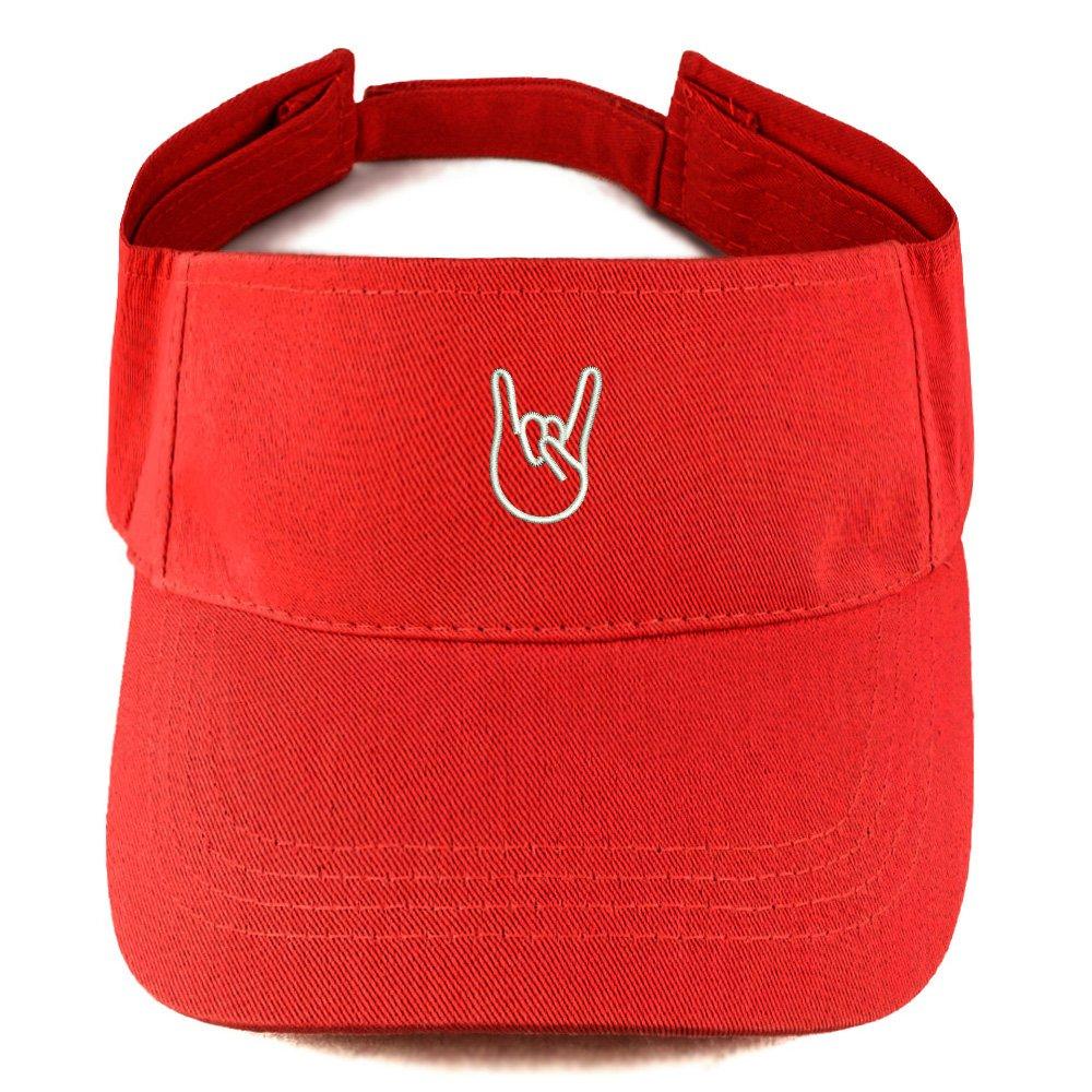 Trendy Apparel Shop Rock On Emoticon Embroidered Summer Adjustable Visor LOG327-CB-H1421-BLK