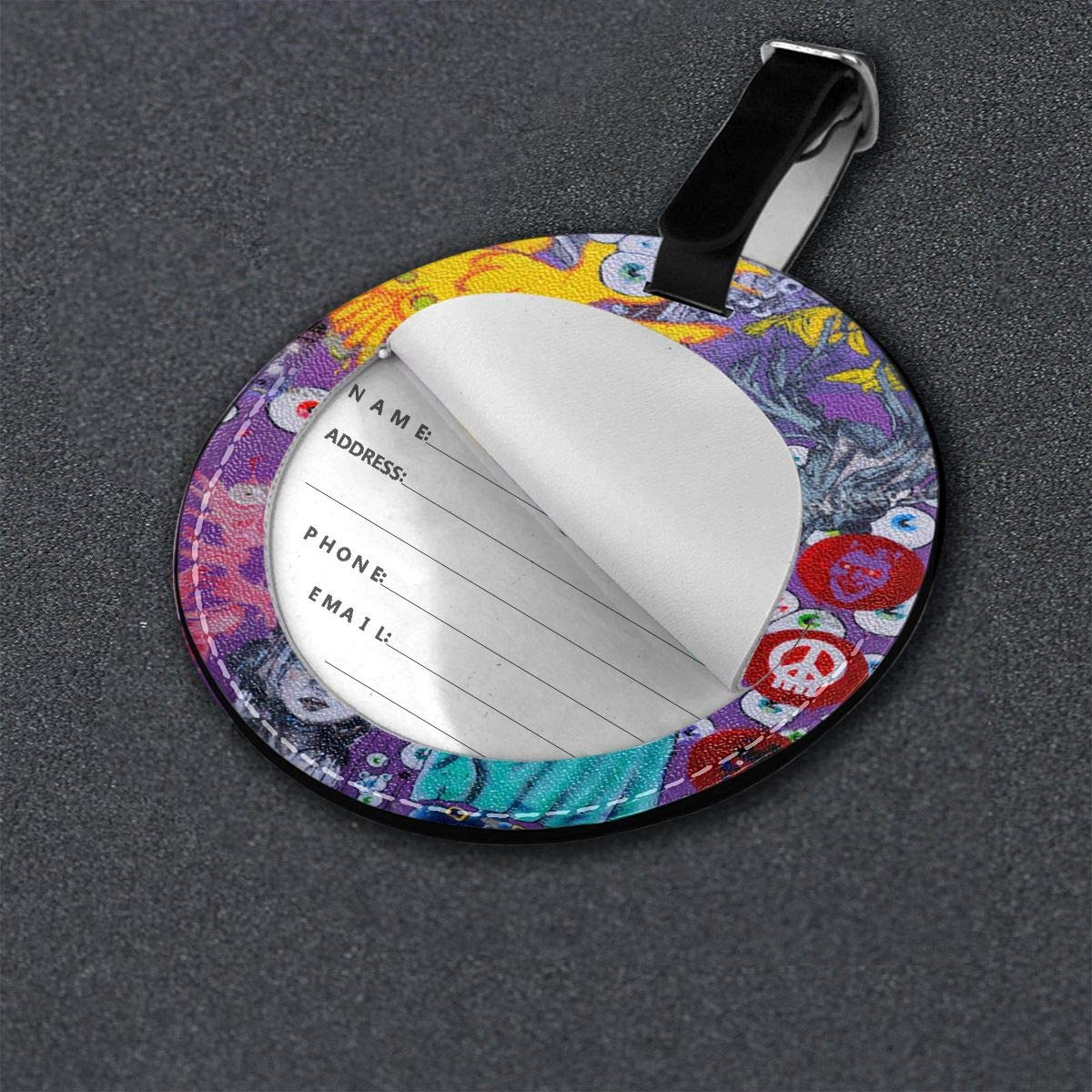 Round Luggage Tags Montreal Canada Street Art Painting Travel Accessories Suitcase Name Tags