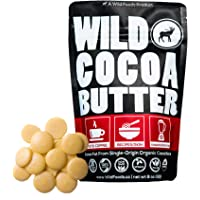 Raw Organic Cocoa Butter Wafers from Peru | Unrefined, Non-Deodorized, Food Grade, Plant-Based, Paleo, Vegan Body Butter - Great for DIY Recipes, Smoothies, Keto Coffee, Skincare and Haircare (8 oz)