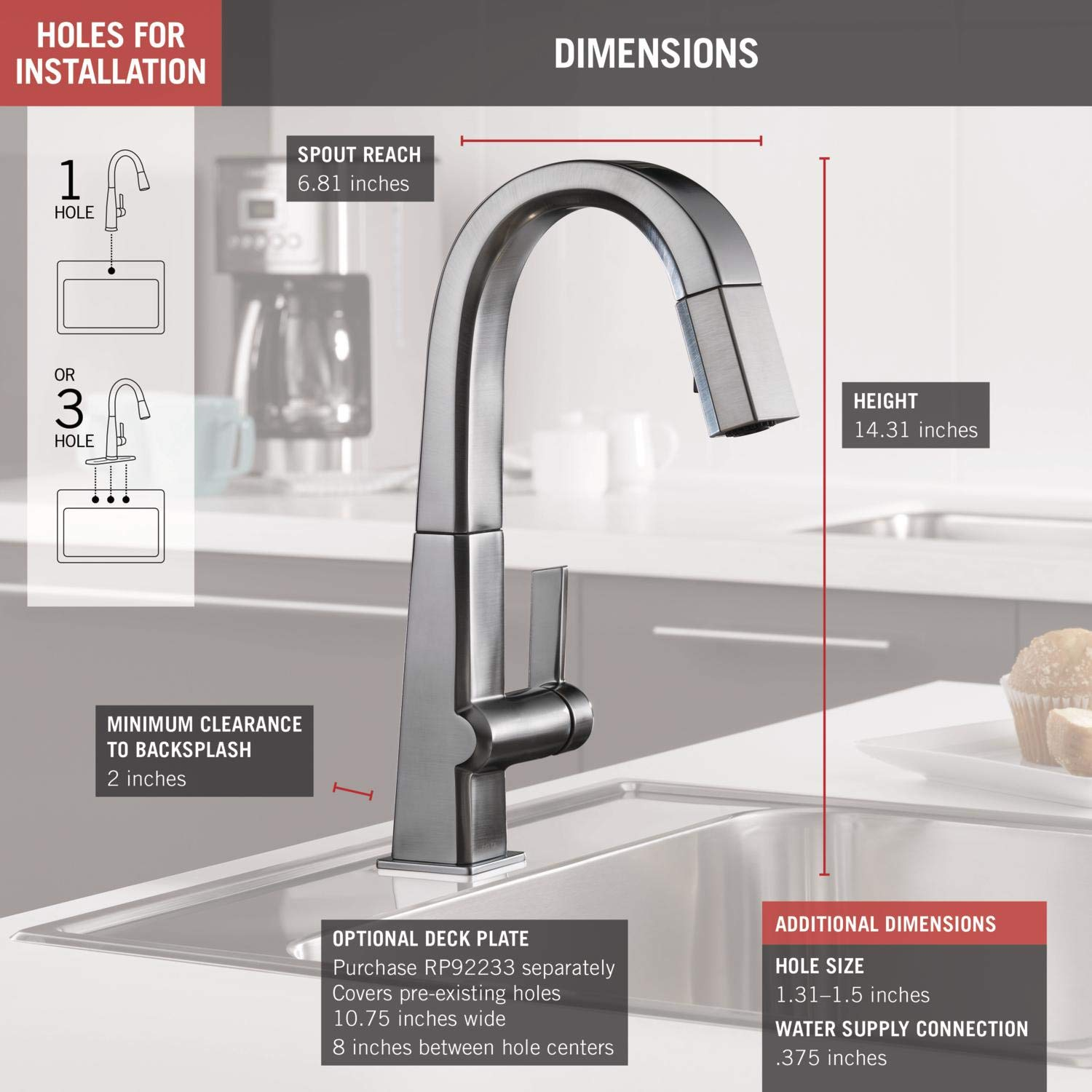 Delta Faucet Pivotal Single-Handle Bar-Prep Kitchen Sink Faucet with Pull Down Sprayer and Magnetic Docking Spray Head, Arctic Stainless 9993-AR-DST by DELTA FAUCET (Image #3)