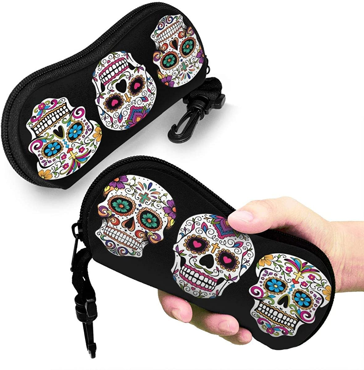Eyeglasses Case Sugar Skull Black Background Glasses Case Anti-drop Soft Spectacle Storage Box Glasses Pouch Sunglasses Safe Protective Holder Shell With Zipper For Reading Glasses Girls Boy