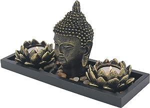DharmaObjects Zen Garden Buddha Head Lotus Tea Light Candle Holder Set Home Décor Gift