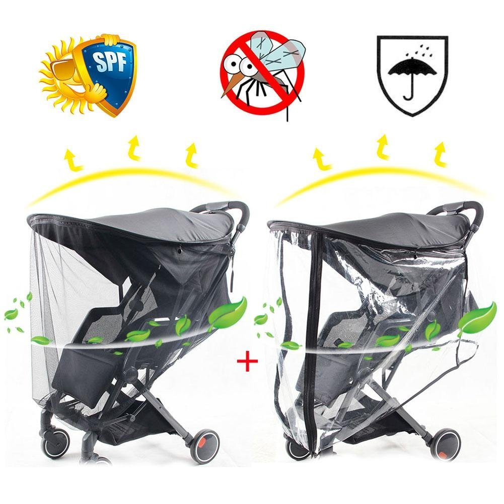 PER 3-in-1 Baby Stroller Sun Shade+Rain Cover+Mosquito Net Awning Waterproof And Windproof Anti-UV Umbrella Canopy Cover Universal Fit For Stroller