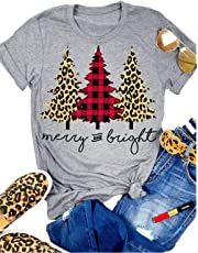 MNLYBABY Leopard Printed Plaid Christmas Trees T-Shirt for Women Merry and Bright Graphic Tees Tops Xmas Gift