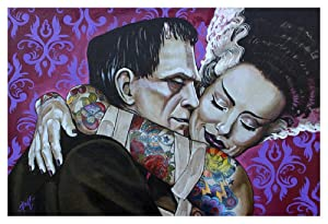 Undying Love by Mike Bell Frankenstein Monster Lovers Tattoo Art Poster Print