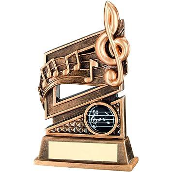 Trophy Store JR29-RF481 - Trofeo con notas musicales y placa (15,88 cm y espacio para grabar 30 letras): Amazon.es: Hogar
