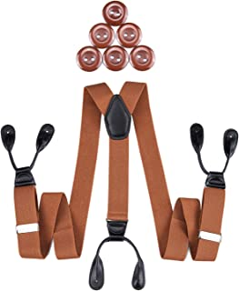 DiBanGu Men's Braces Button End Elastic Formal Wide Suspenders Leather Y-Back with Buttons Many Colors