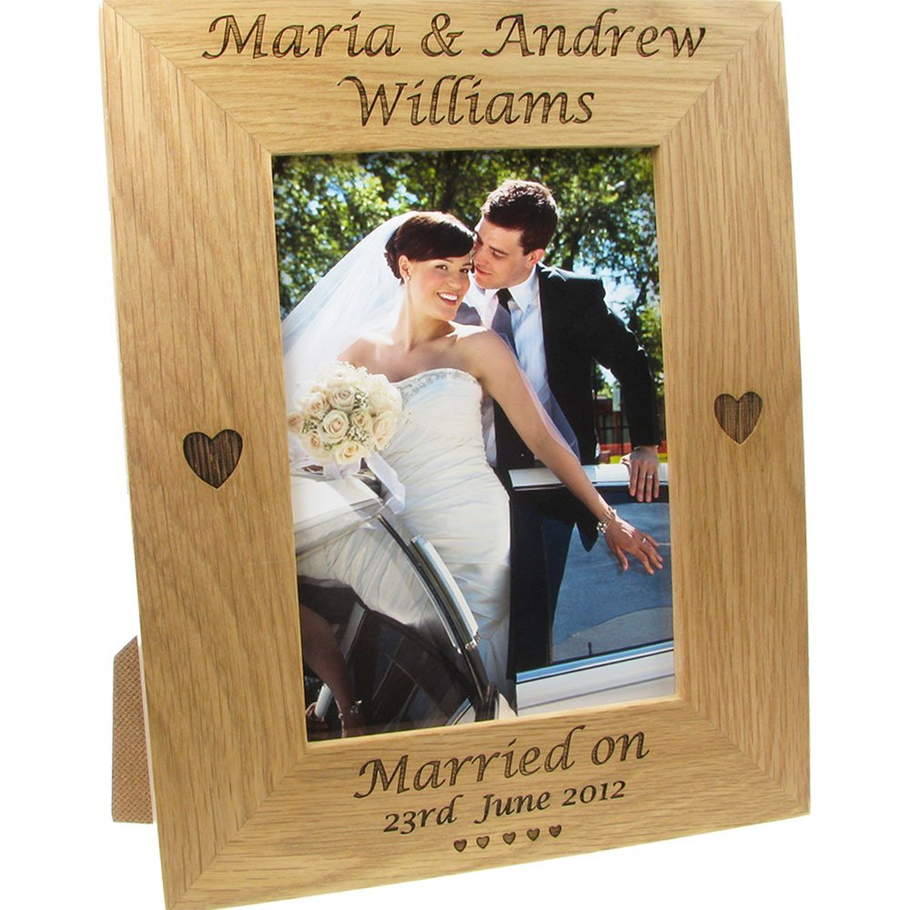 De Walden Wedding Gift, Engraved Oak Wedding Photo Frame, Bride and ...