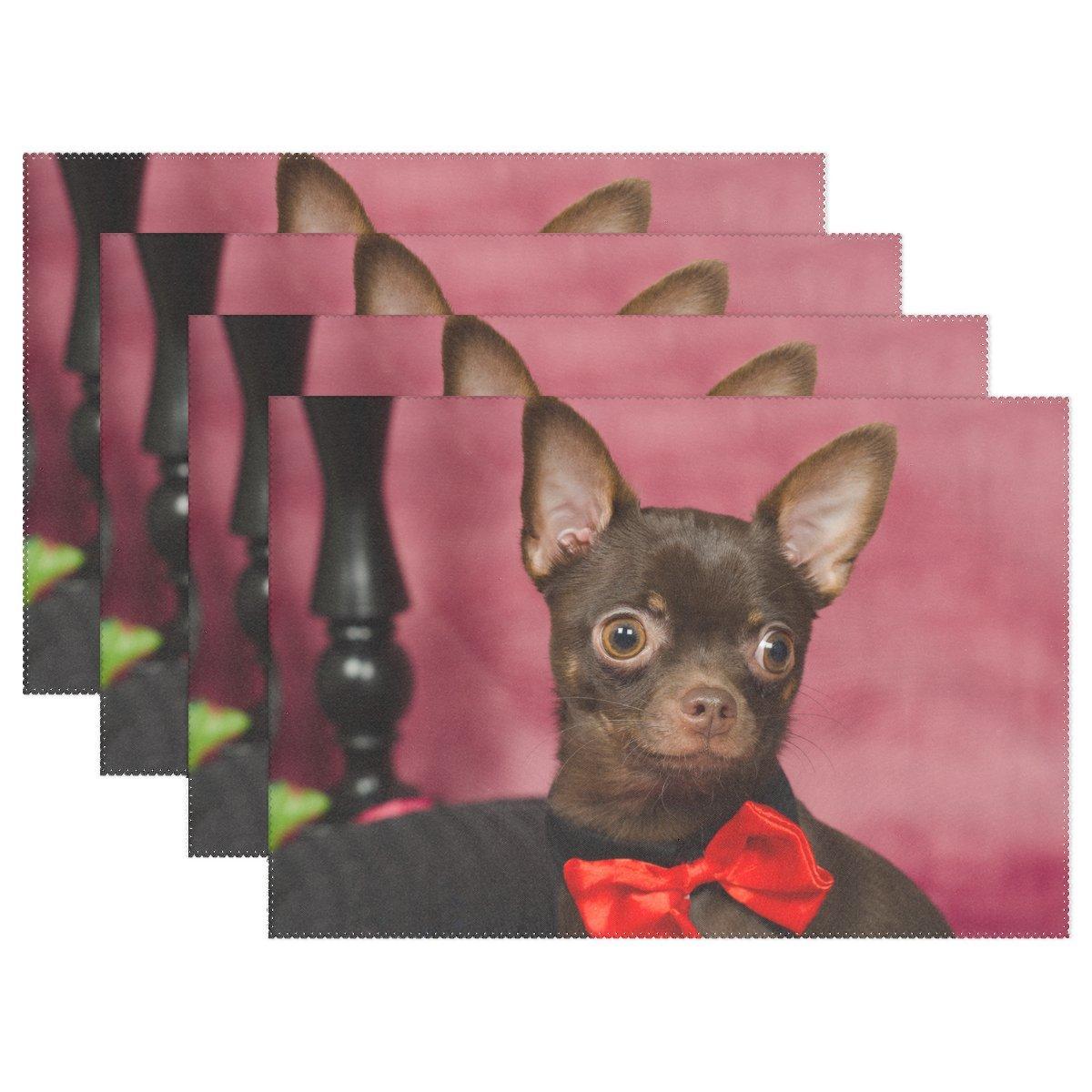 vnaskl動物犬AffenpinscherブラウンSmallふわふわ子犬かわいいペット耐熱テーブルPlacemats Set of 4 Stain Resistantテーブルマット洗濯可能食べマットホームディナー装飾   B07D8J959D