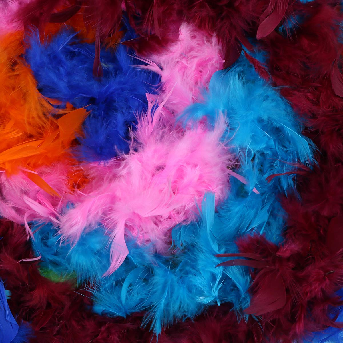 SUPVOX 6 PCs Feather Boa Set Rainbow Feather Boas Vibrant Colorful Feathers for Wedding Costumes Mardi Gras Party Favors Supplies 40g