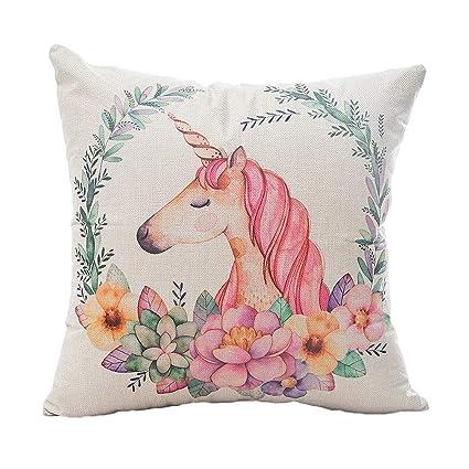 Inconpro Cojín Fundas Unicornio Decorativa Cuadrada Almohada de Lino Serie Rosa Pillow Cases para Sofa Jardin Cama Decorativo 45cm*45cm