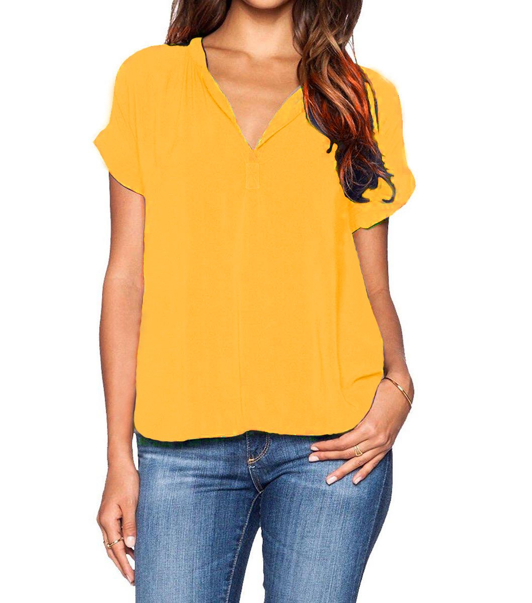 Grace Elbe Women's Chiffon Blouse V Neck Short Sleeve Top Shirts Mustard XX-Large
